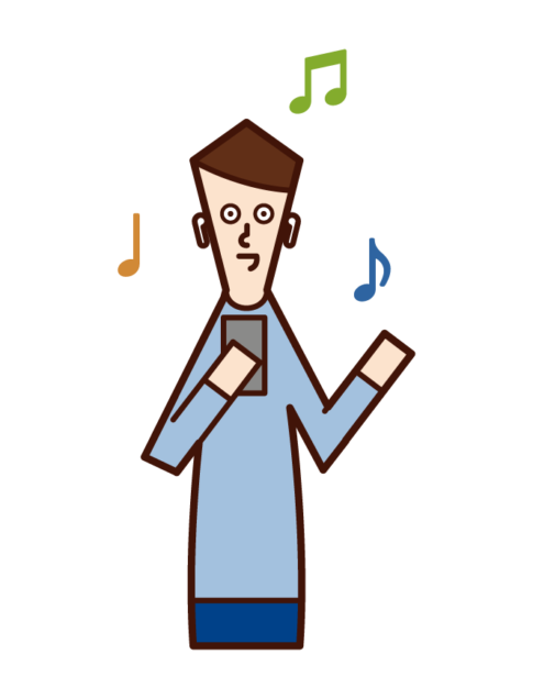 Illustration of a man listening to music on an earphone