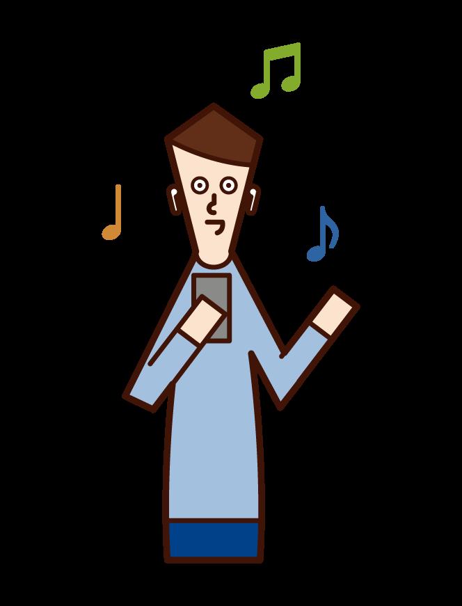 헤드폰으로 음악을 듣는 사람(남성)의 일러스트