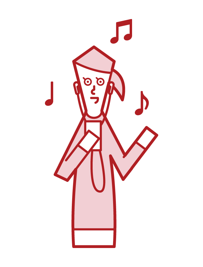 Illustration of a woman listening to music on an earphone