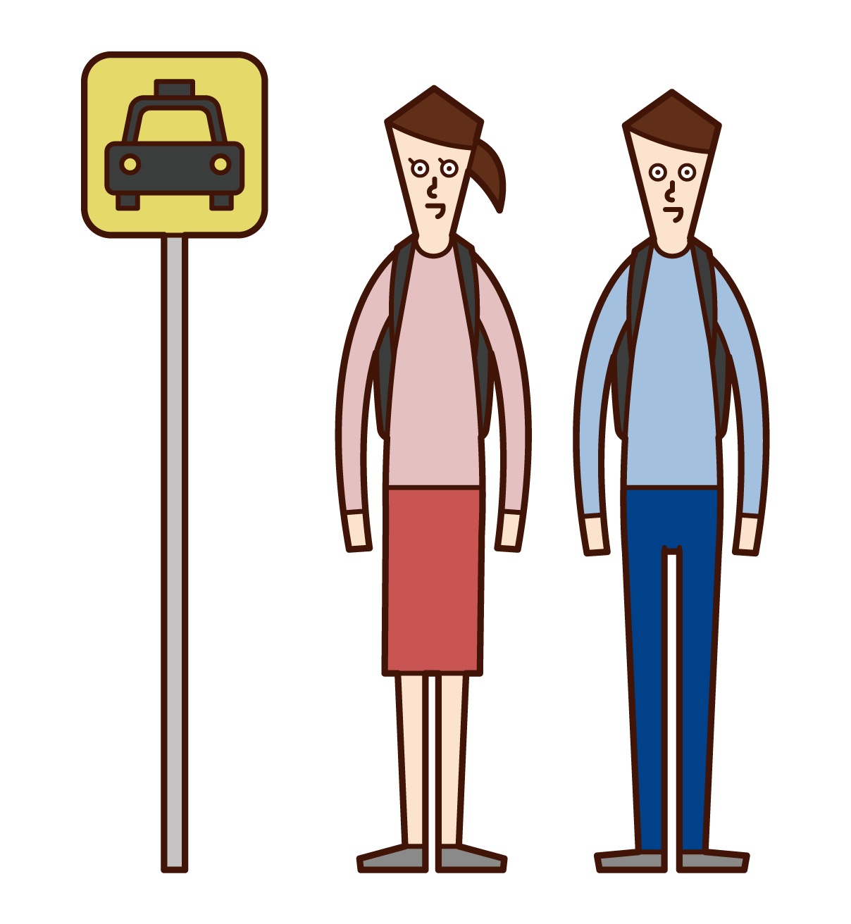 タクシー乗り場でタクシーを待つ人たちのイラスト