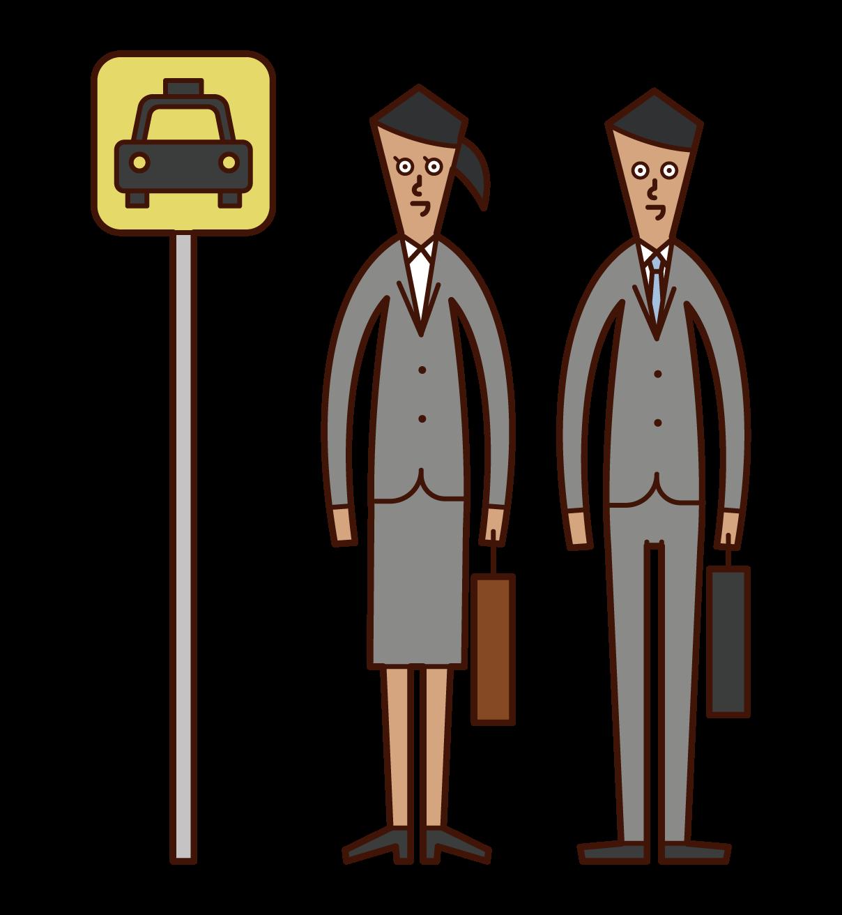 택시 정류장에서 택시를 타는 사람들의 그림