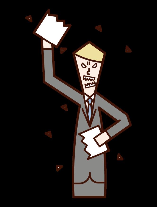 문서를 깨는 사람 (남성)의 그림