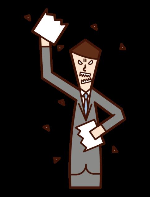 書類を破く人(男性)のイラスト