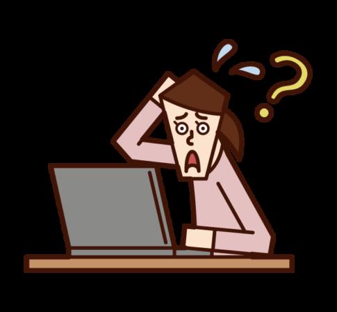 不知道如何使用電腦的人(女性)的插圖