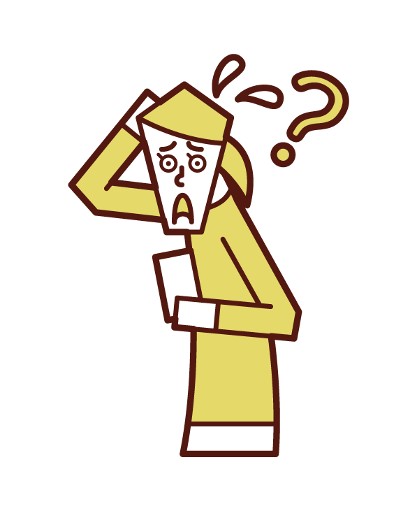Illustration of a woman who does not know how to use a smartphone