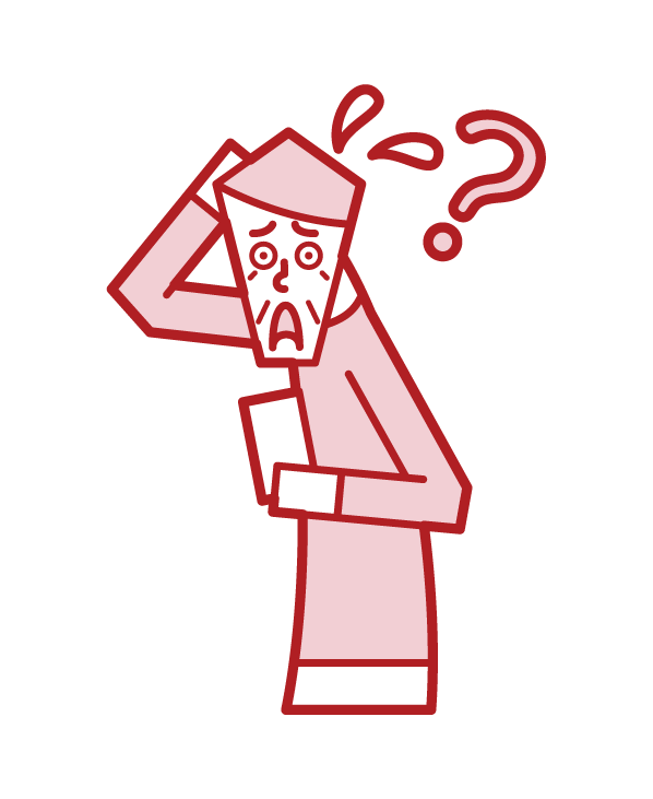 Illustration of a person (old man) who does not know how to use a smartphone