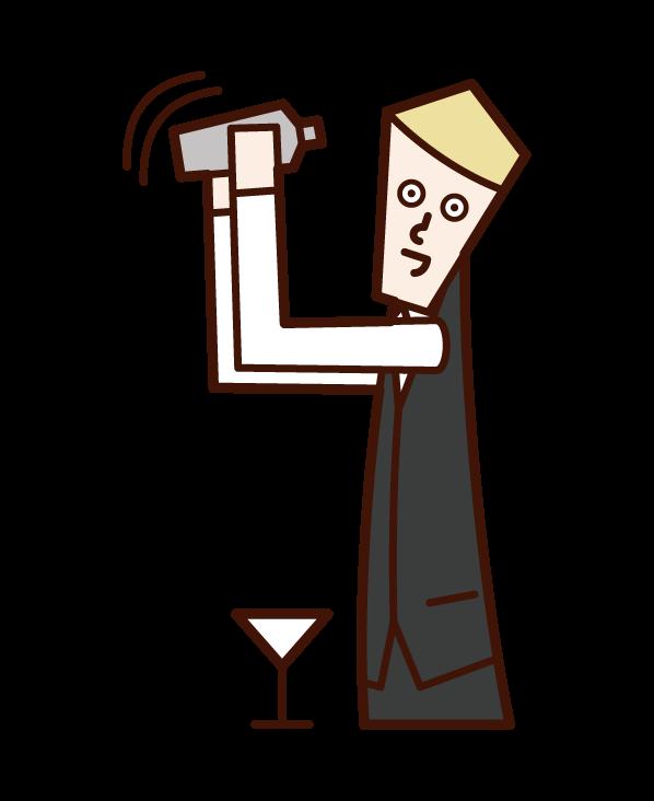 調酒師(男性)插圖