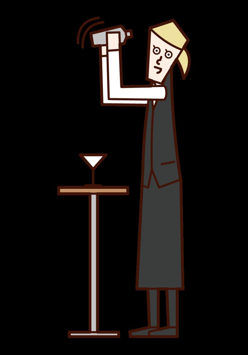 調酒師(女性)插圖