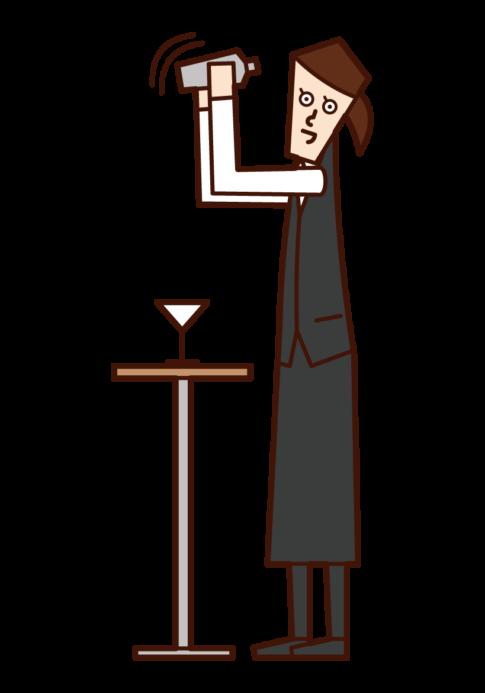 Illustration of bartender (female)