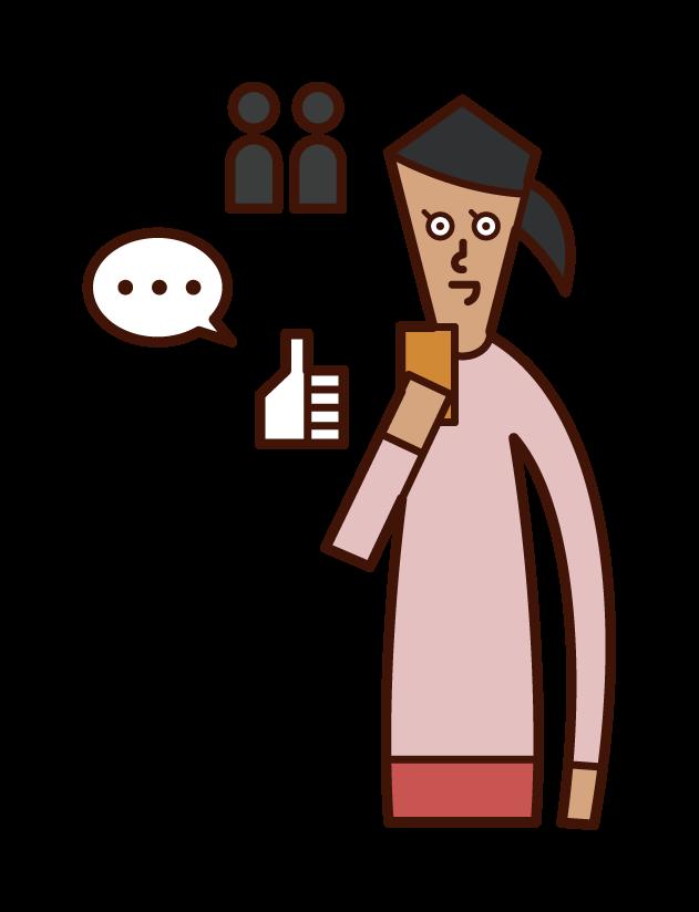 SNS를 사용하는 사람(여성)의 일러스트