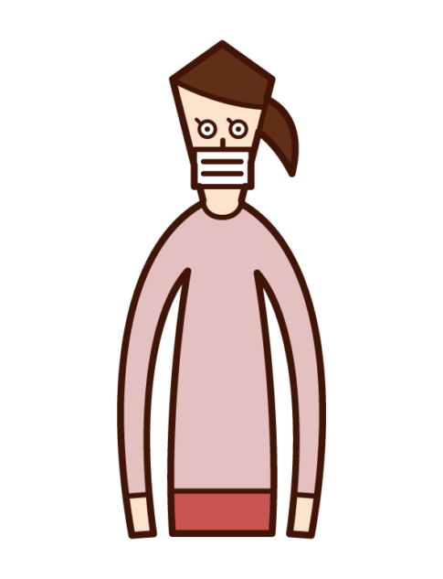 Illustration of a woman wearing a mask
