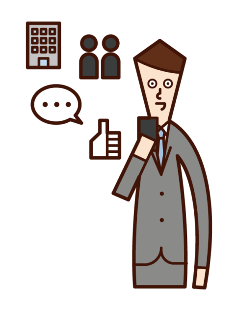 Illustration of a person (man) who uses SNS