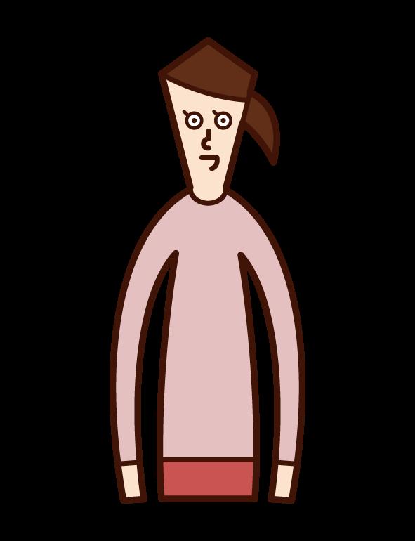 SNS를 사용하는 사람(남성)의 일러스트