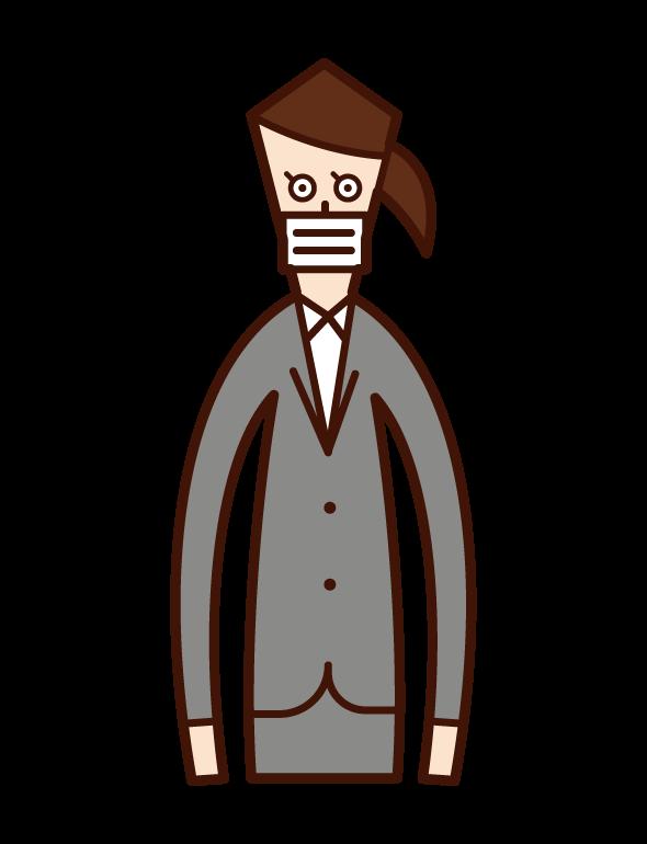 戴口罩的人(女性)的插圖