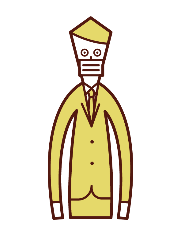 Illustration of a man wearing a mask