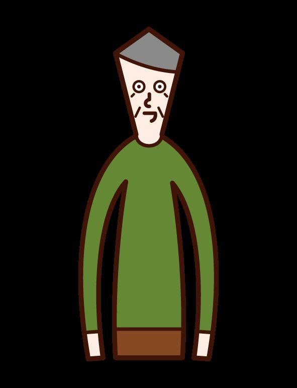 Illustration of upper body (old man)