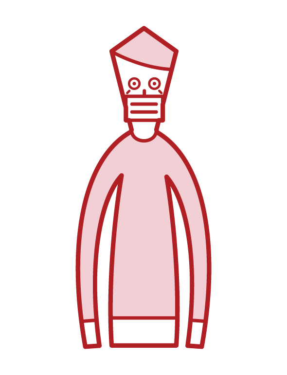 Illustration of a masked person (old man)