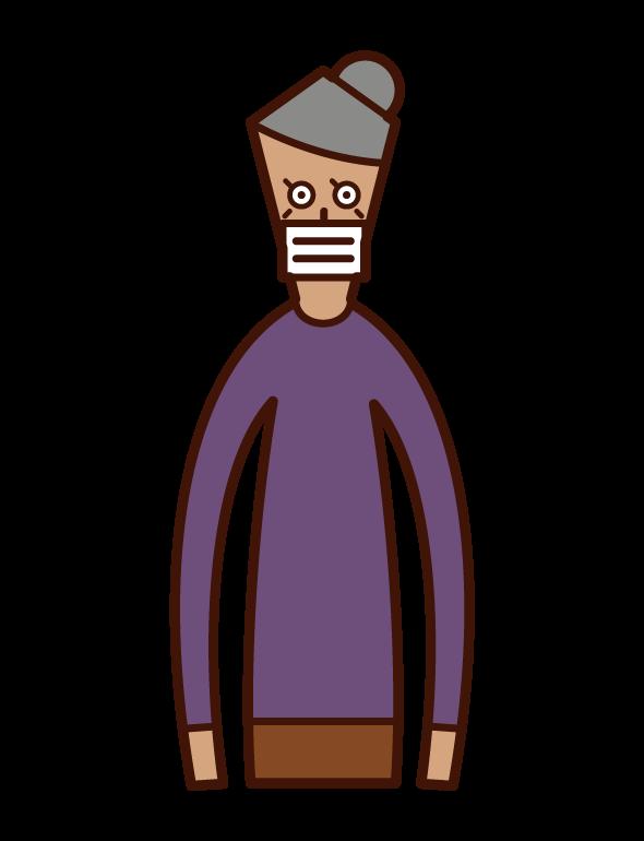 戴著面具的人的插圖