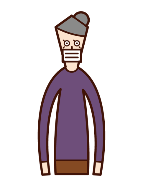 Illustration of a masked person (grandmother)