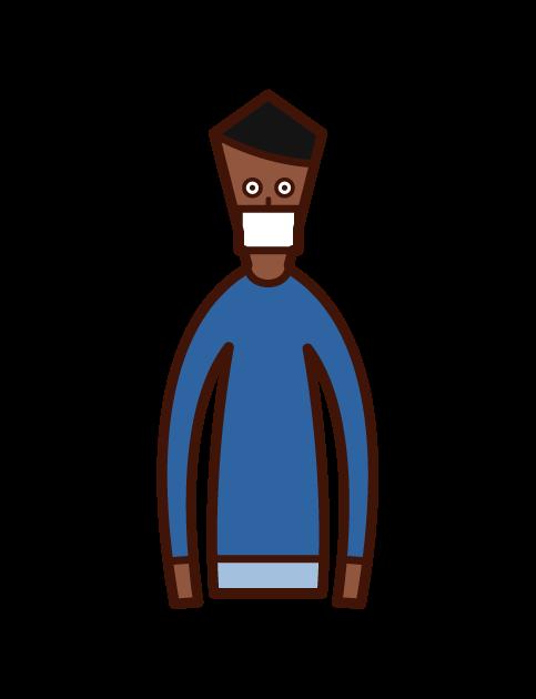 戴面具的人(男孩)的插圖