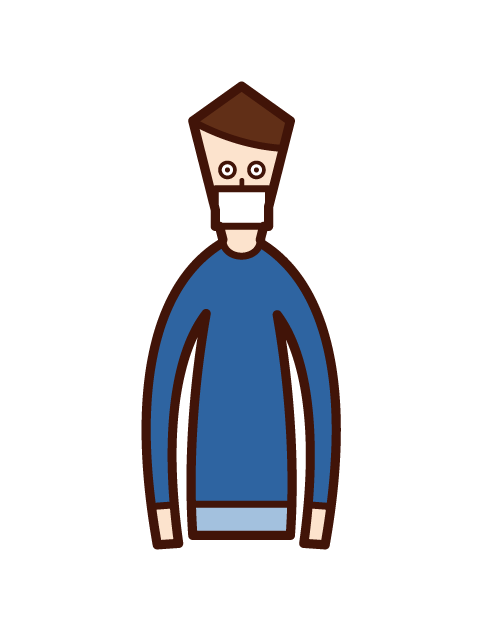 Illustration of a masked person (boy)