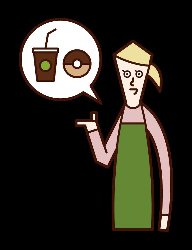 カフェの店員(女性)のイラスト