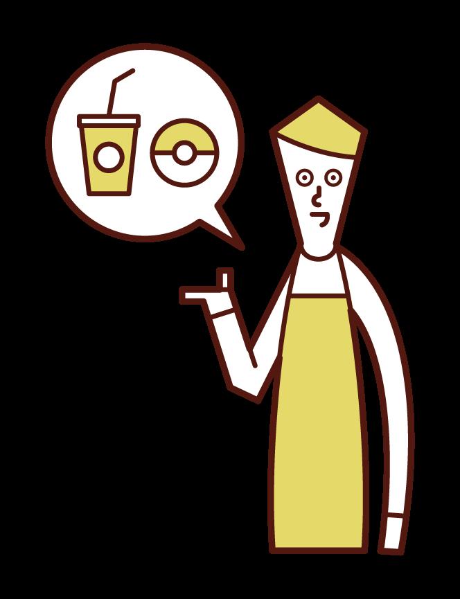 カフェの店員(男性)のイラスト