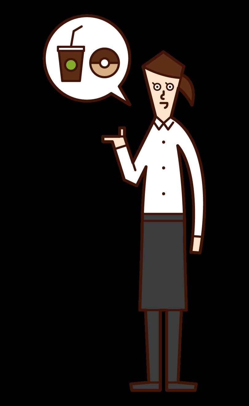 Illustration of a café clerk (female)