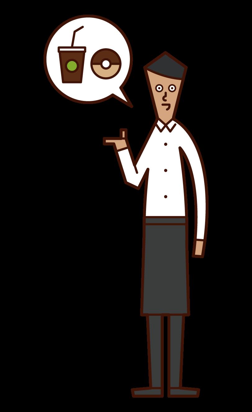 咖啡館店員(男性)的插圖