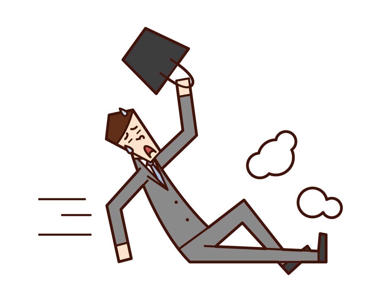 遅刻しそうになって滑り込む人(男性)のイラスト