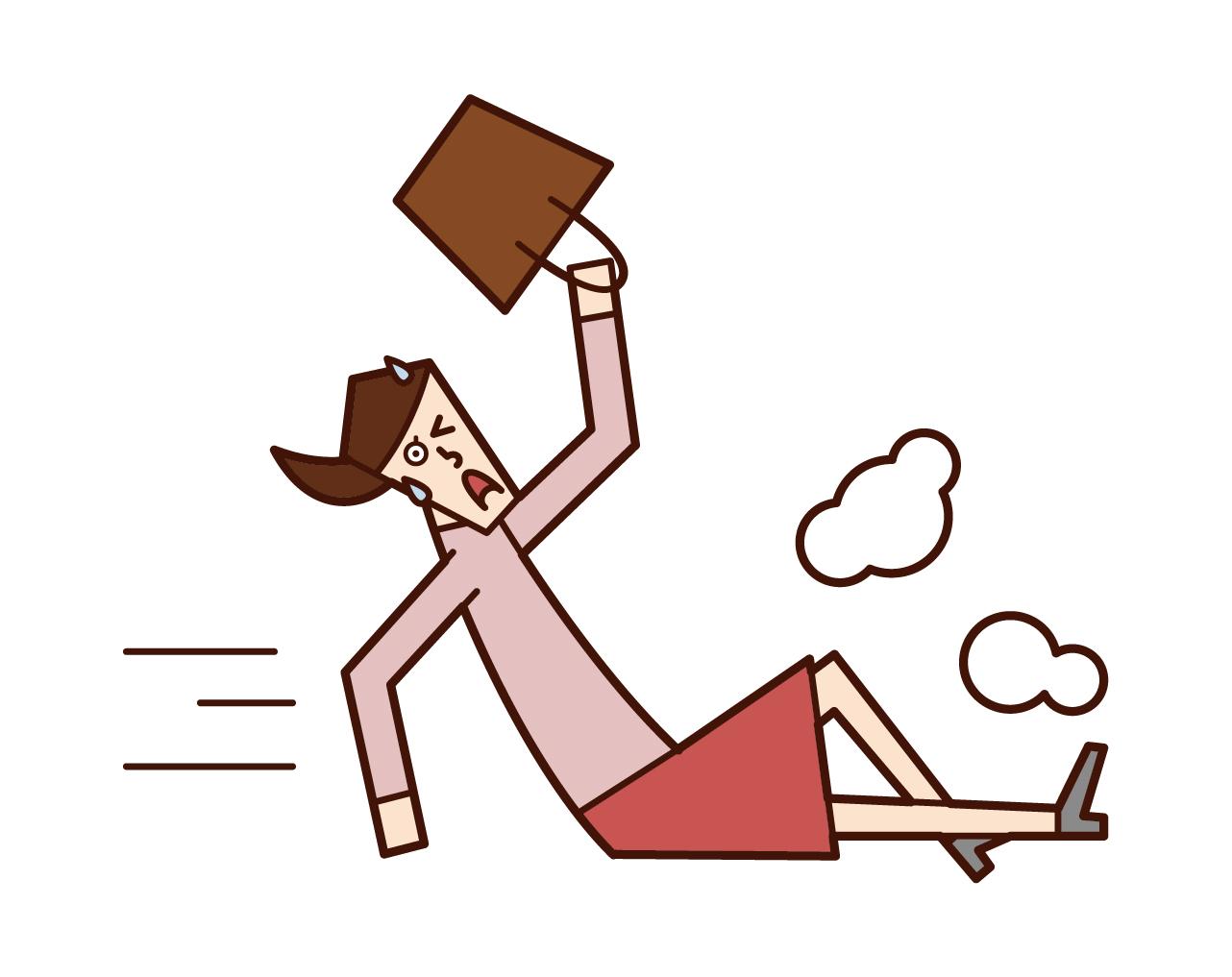 遅刻しそうになって滑り込む人(女性)のイラスト