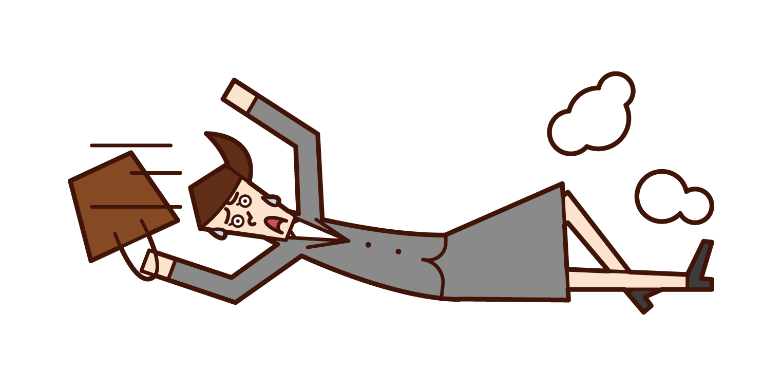 Illustration of a woman sliding because she is about to be late