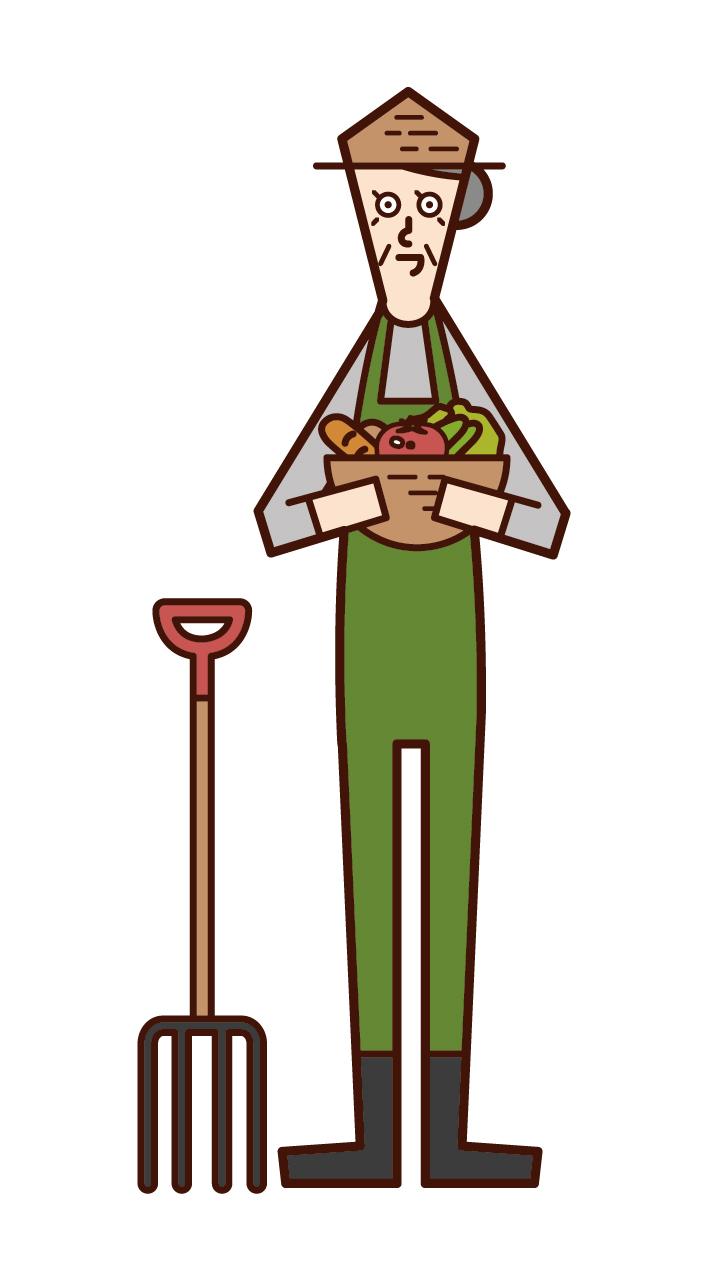 農業をする人・農家(おばあさん)のイラスト