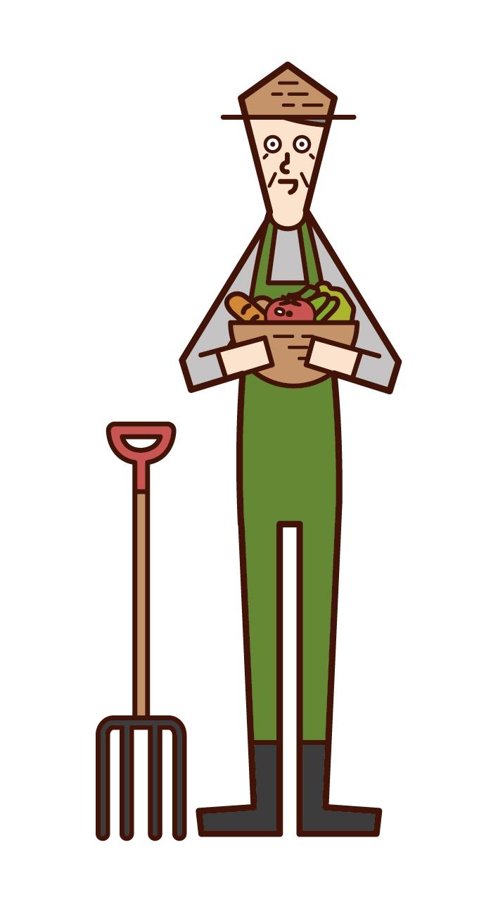 農業をする人・農家(おじいさん)のイラスト