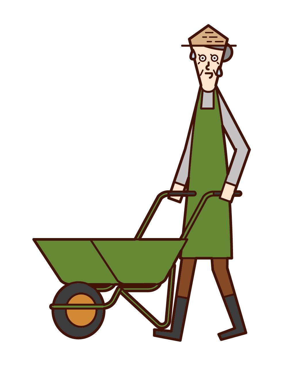 使用手推獨輪車的人(祖母)的插圖