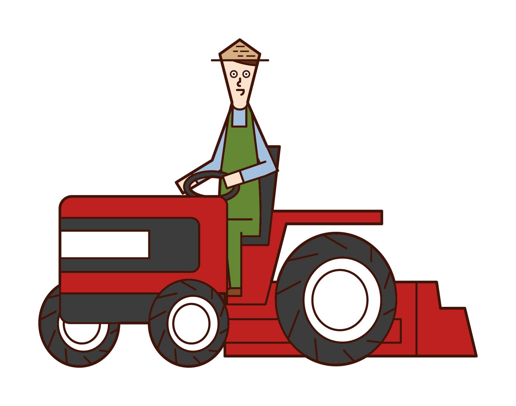 트랙터를 운전하는 사람들의 그림
