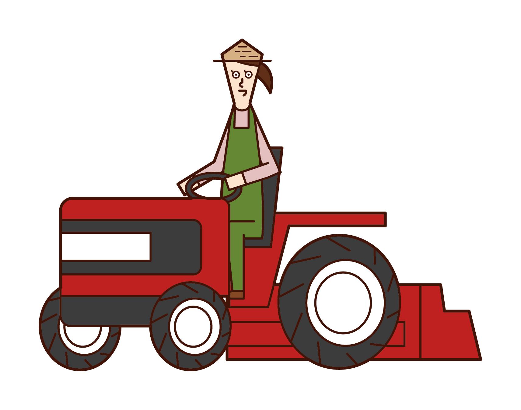트랙터를 운전하는 사람 (여성)의 그림