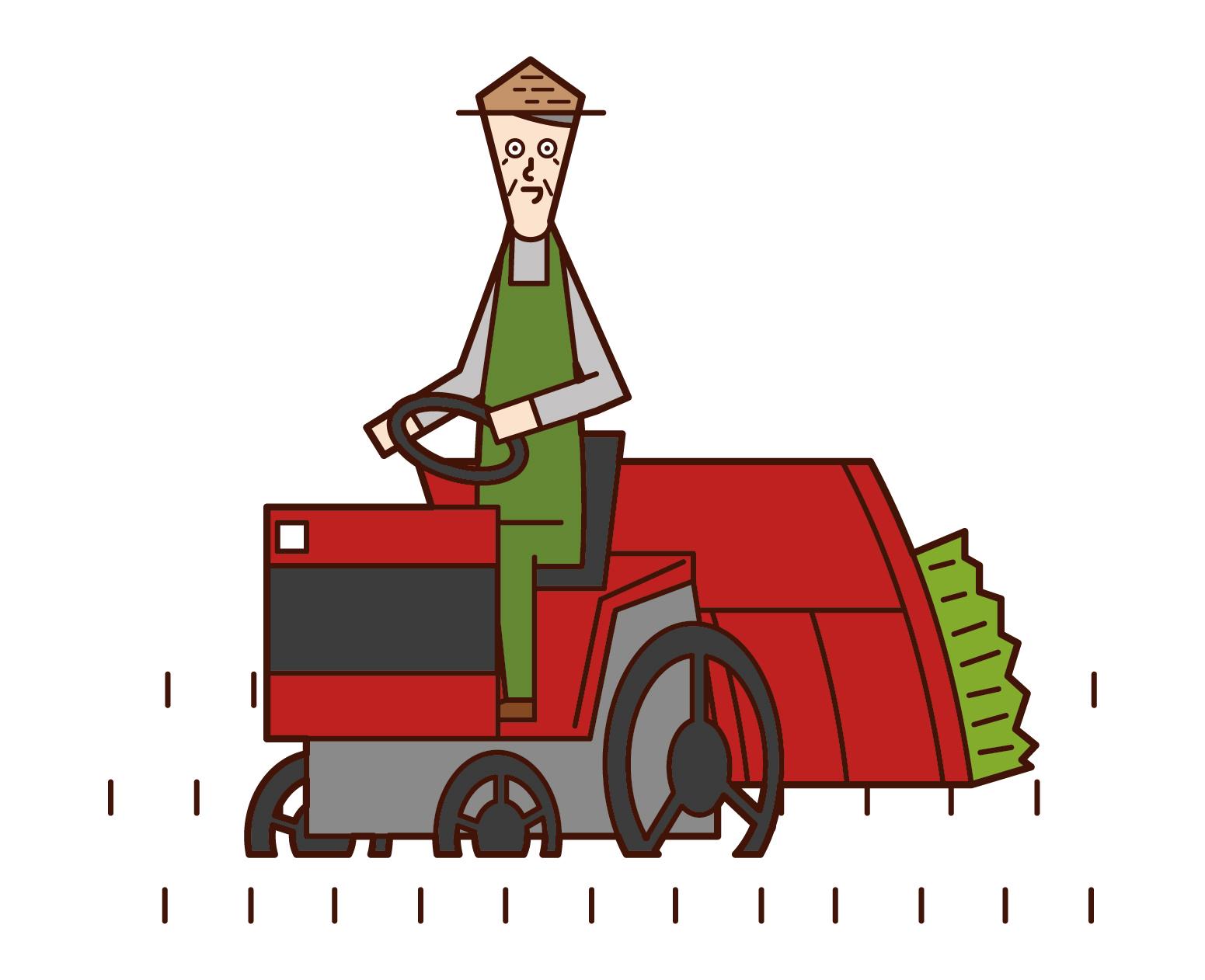 쌀 재배기를 타고 운전하는 사람 (할아버지)의 그림