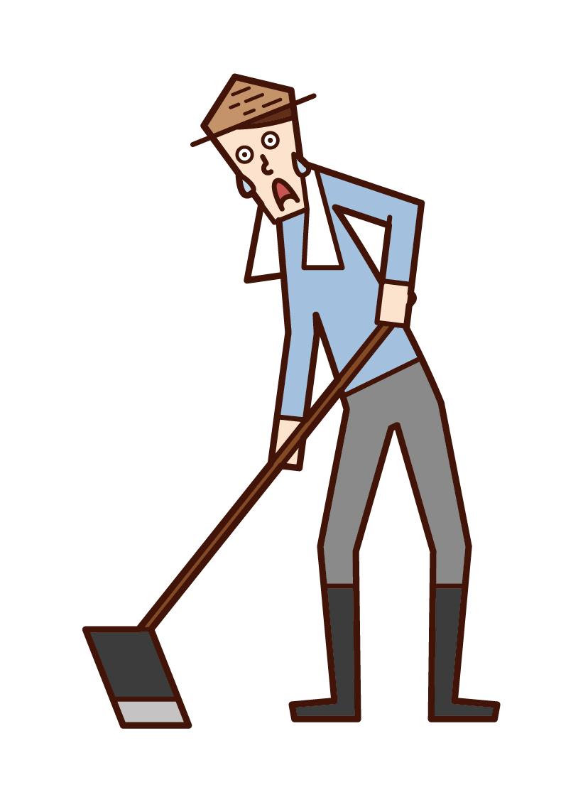 耕種田地的人(男性)的插圖