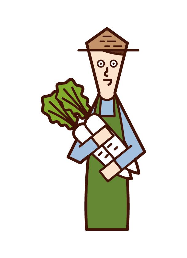 야채를 수확하는 사람 (남성)의 그림