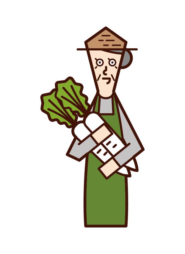 收穫蔬菜的人(祖母)的插圖