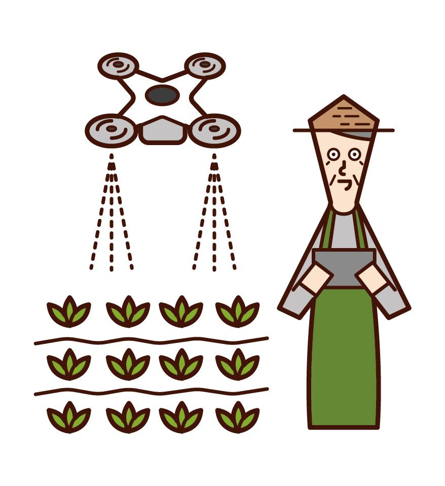 用無人機噴洒農藥的人(祖父)的插圖