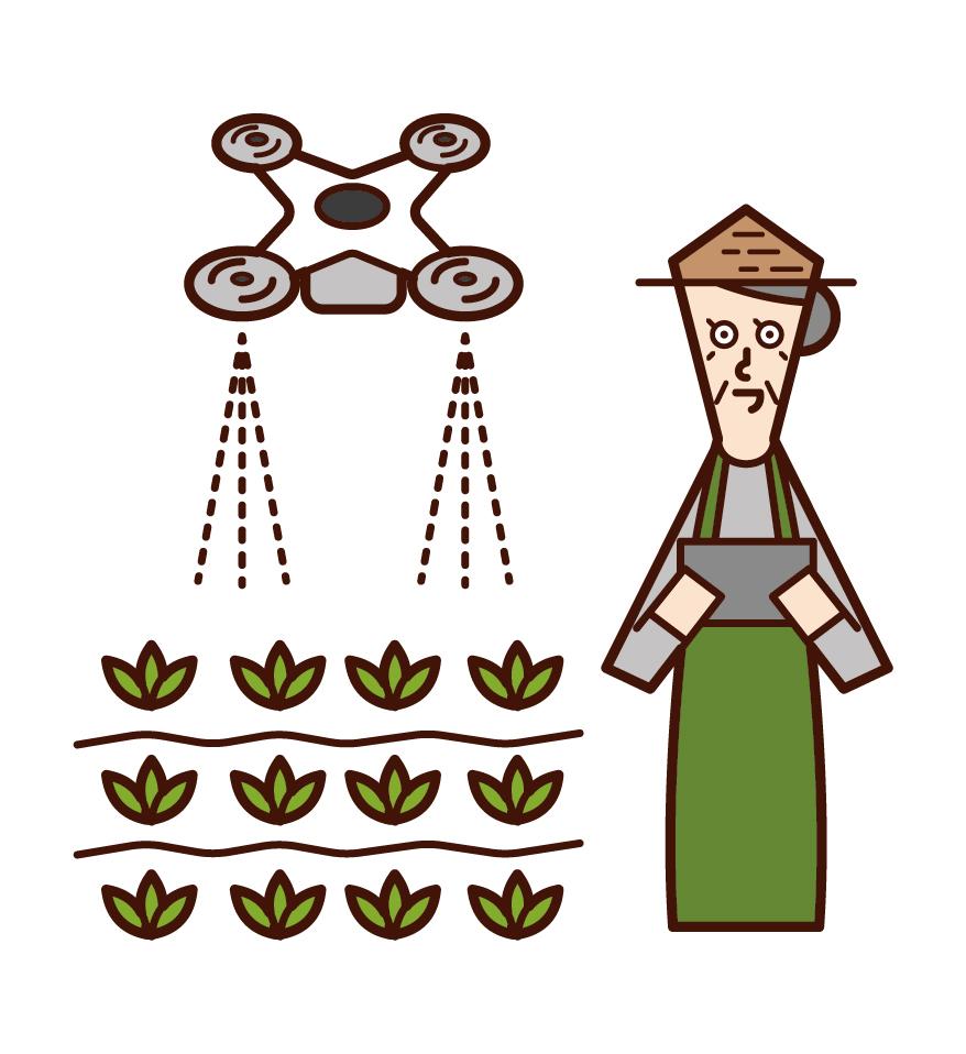 用無人機噴洒農藥的人(祖母)的插圖