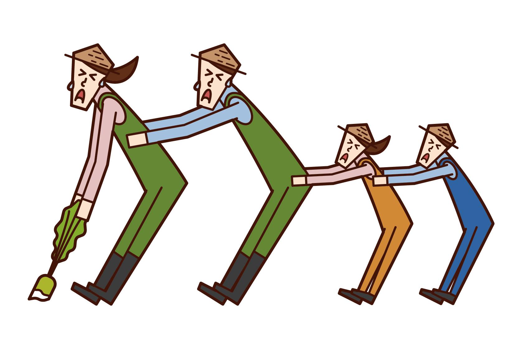 家庭合作收穫作物的插圖