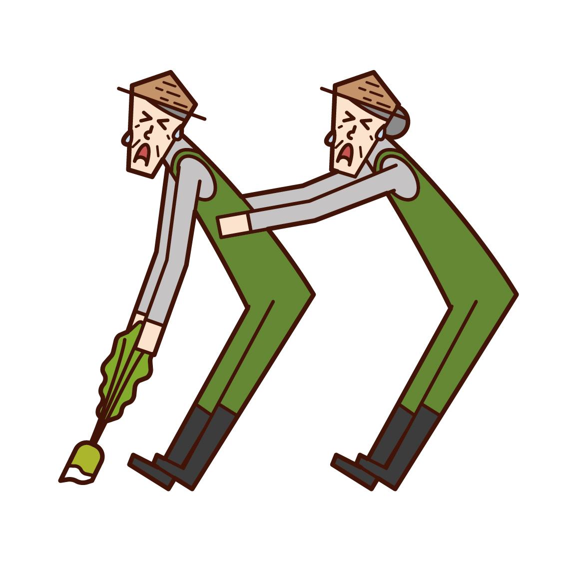 一對老夫婦合作收穫莊稼的插圖