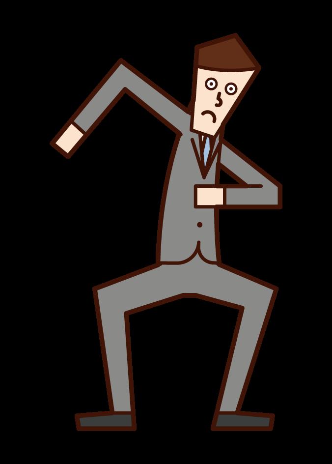 달리기를 준비하는 사람 (남성)의 그림