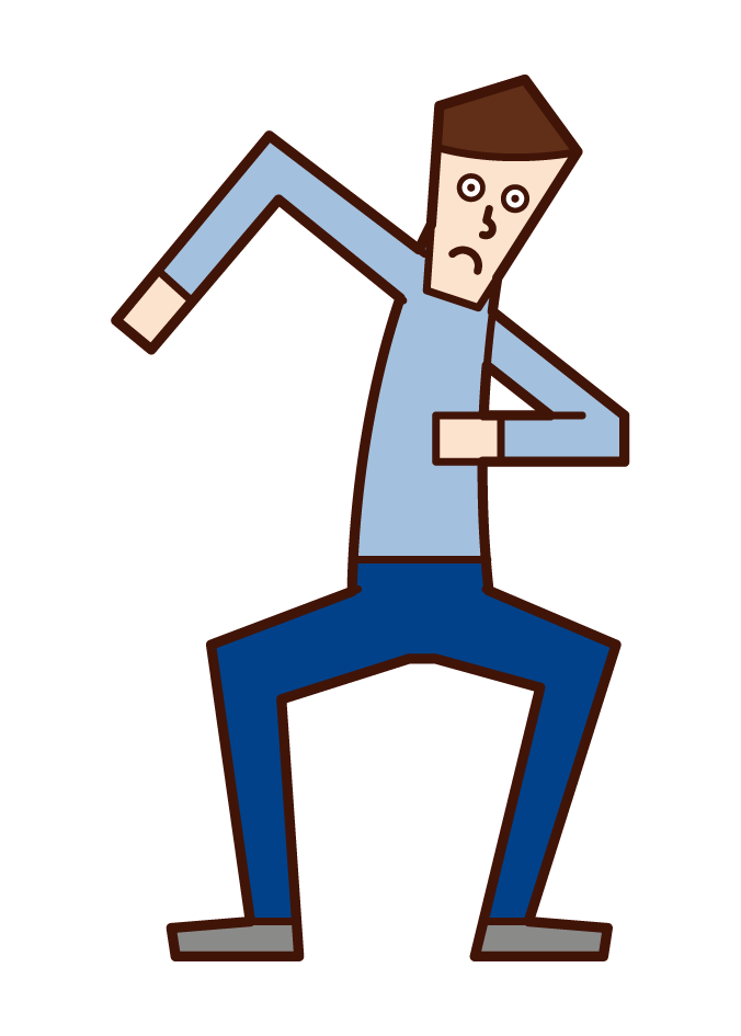 Illustration of a man who is poised to start running