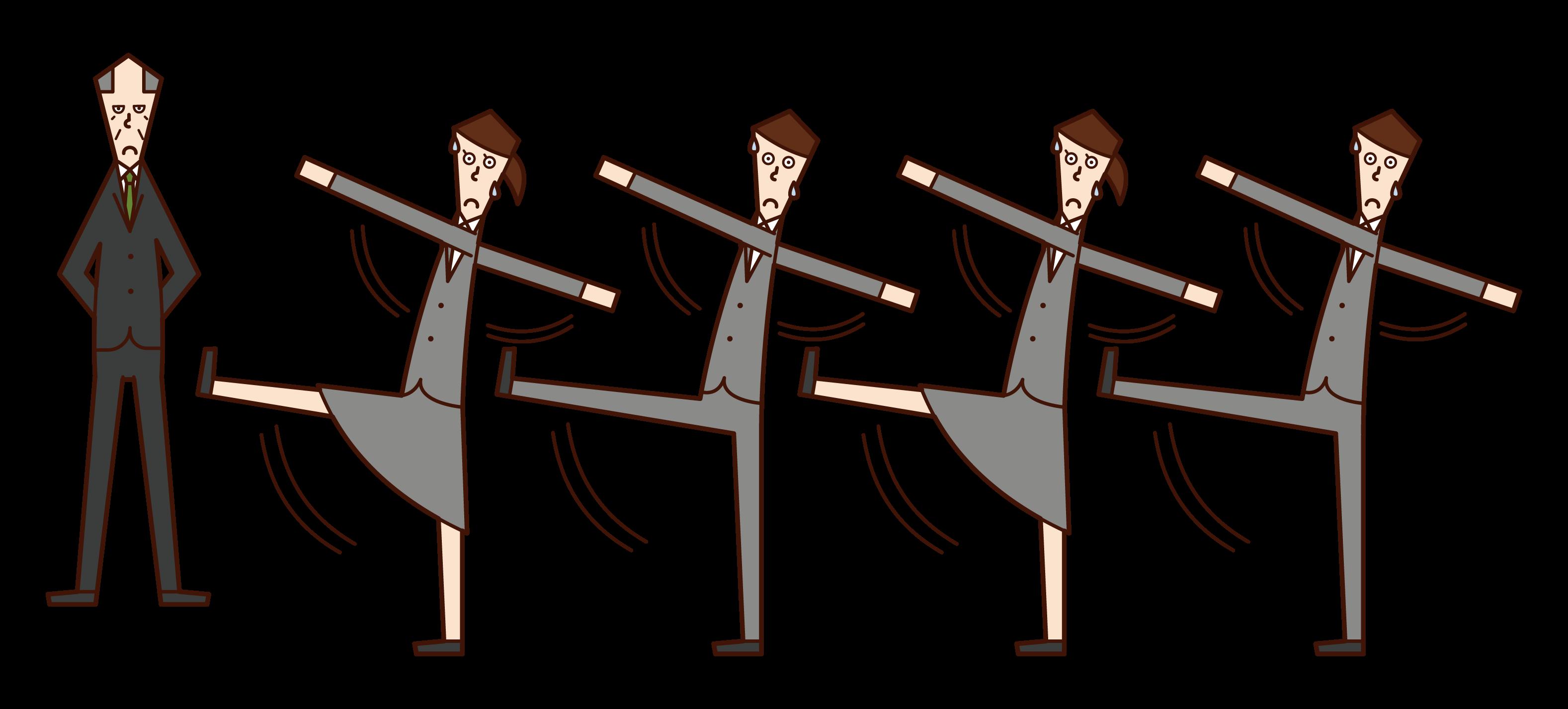 군대처럼 일하는 사람과 가축의 그림