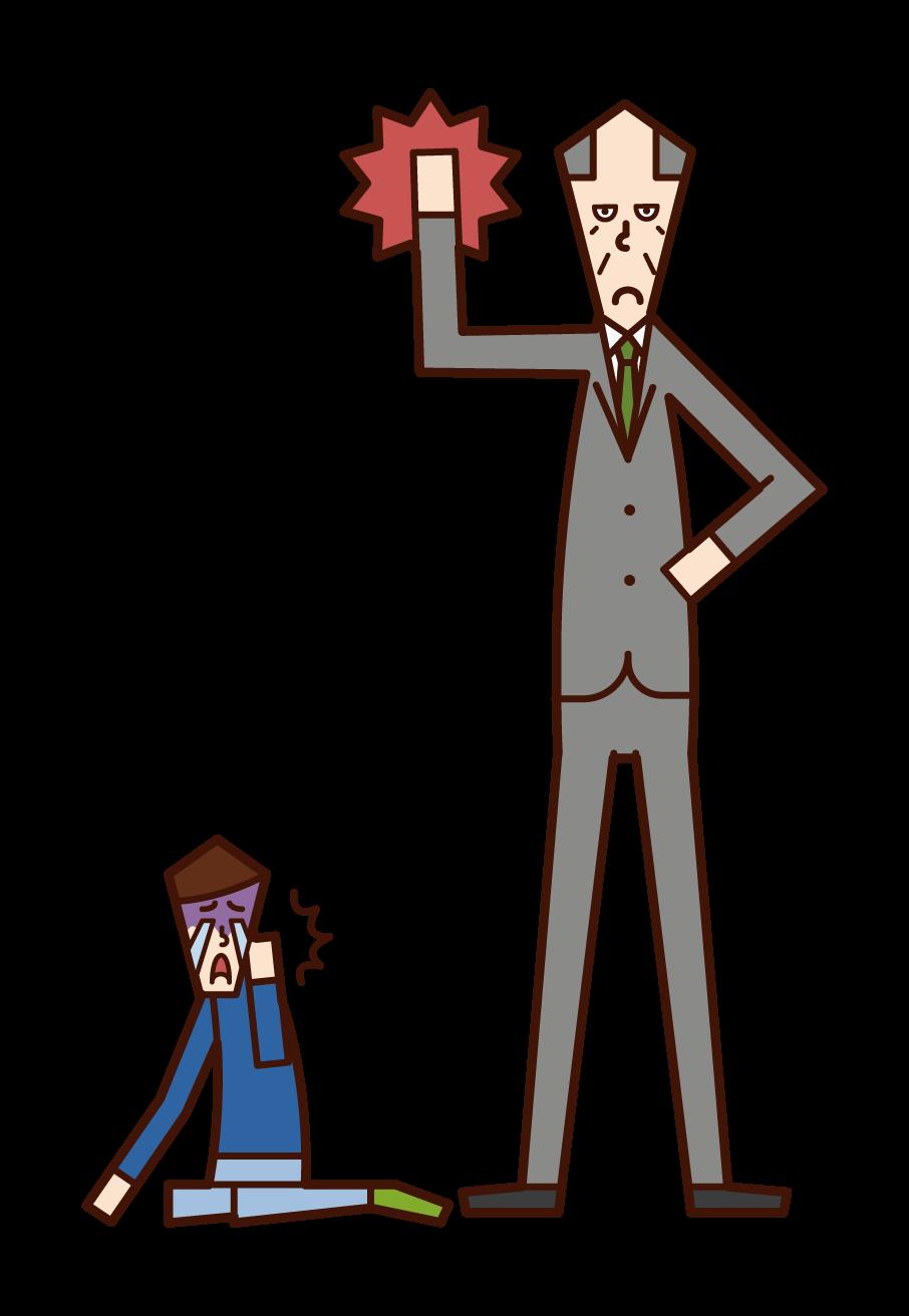 아이에게 신체적 처벌을 주는 사람(남성)의 그림