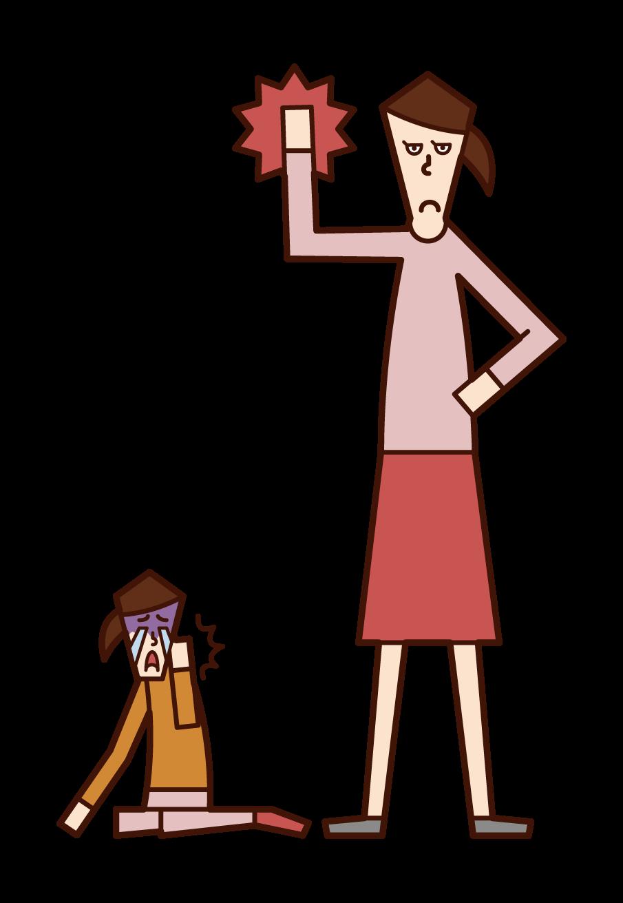 아이에게 신체적 처벌을 주는 사람(여성)의 그림